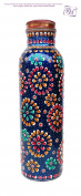 Pure Copper Water Bottle for Ayurvedic Health Benefits (Joint Free & leak proof) Hand Painted Art Work