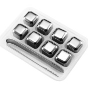 Toyofmine Whiskey Stones Set of 8 Urban Choice Products Reusable Ice Cubes Stainless Steel Drink Coolers with Tongs for Wine Soda