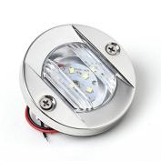 Round Navigation Light Polished Marine Stainless LED Transom Mount Stern Anchor