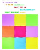 POCO DIVO 3.3sqm Giant Play Mat 9-tile Excise Mat Easy Setup Solid EVA Foam Mat Multi-colour Interlocking Floor with 18-border