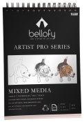 Professional 100 Sheet Sketchpad, Watercolour, and Acrylic Art Pad - 98 Ib / 160 g/m2 - 9 x 12 in Multi-Media Spiral Notebook