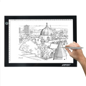 AGPtEK LED Tracing Light Pad A4 size Light Box Extra Large Active Area 12.6 x 9 inch Ultra-thin Only 5mm Stepless Brightness Control with Memory Function USB Powered- 6000k white