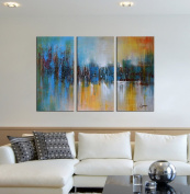 """ARTLAND 100% Hand Painted Framed Modern Wall Art """"Paths of Glory"""" 3-Piece Abstract Oil Painting on Canvas Ready to Hang for Living Room for Wall Decor Home Decoration Birthday Present 60cm x 90cm"""