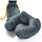 Purefly Soft Velvet Inflatable Travel Neck Pillow for Aeroplanes with Packsack