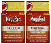 MegaRed Super Omega 3 Krill Oil-High Absorption 100% Pure Antarctic Krill Oil-600mg EPA/DHA-Optimal Combination of Omega 3 Fatty Acids- 2 Pack, 80 Softgels