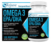 Omega 3 EPA and DHA Fish Oil Dietary Supplement By Rejuve - 100% Natural, Pure Formula Rich In EPA & DHA Fatty Acid - Supports Cardiovascular, Brain, Joint & Immune System Health - 120 Soft Gels