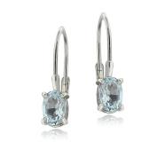 Sterling Silver Genuine Aquamarine Oval Leverback Earrings