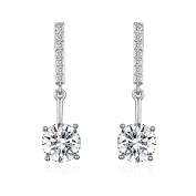Platinum-Plated Cubic Zirconia Drop Earrings