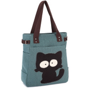 Ladies Canvas Tote Bag Vintage Portable School Bags Casual Practical Shopping Bags with Big Eye Cat Design Army Green by KAUKKO