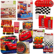 Disney Cars Party Supplies Ultimate Set (134 Pcs) -- Birthday Party Decorations, Party Favours, Plates, Cups, Napkins, Table Cover and More!