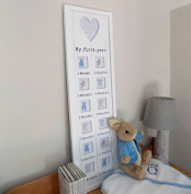 Baby's 1st year white collage wall mounted photo frame