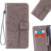 LEMORRY Samsung Galaxy J2 J200F Case Leather Flip Wallet Pouch Slim Fit Bumper Protection Magnetic Strap Stand Card Slot Soft TPU Cover for Galaxy J2 J200F J200Y J200G J200H, Lucky Tree Grey