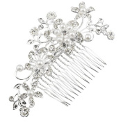 Lalang Bridal Silver Diamante Hair Comb Clip for Wedding/Party/Prom