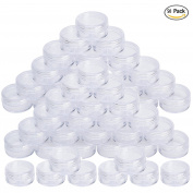 NALATI 5g/5ml 50 Pieces Travel Empty Plastic Cosmetic Jars with Clear Lids for Creams/Sample/Make-Up/Glitter Storage Containers Pot