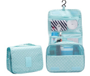 CINEEN Cosmetic Hanging Wash Makeup Bag Multifunction Foldable Beauty Pouch Toiletry Light Green