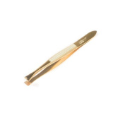Herder Solingen - Gold-Plated Ribbed Straight Tweezers 8 cm + Case