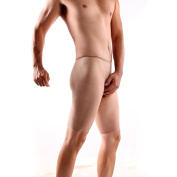 OOCOME Men`s Seamless Elastic Shorts Unopen Trunk Fifth Pants Sexy Bodystockings Underwear Carneous
