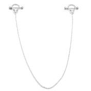 JOVIVI 14G Stainless Steel Cubic Zircons Handcuff Dangle Chain Nipple Rings Sexy Piercing Jewellery