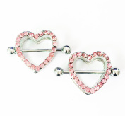 HYIdealism Nipple Ring Bars Pink Two-layers Heart Body Piercing Jewellery Pair 14g Sold as pair