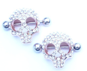 HYIdealism Nipple Ring Bars Gold 3D Skull Body Piercing Jewellery Pair 14g Sold as pair