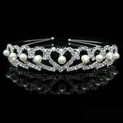 Bridal Tiara Rhinestone and Pearl Heart Crown