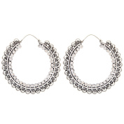 81stgeneration Women's Brass Silver Tone Indian Dotwork Round Tribal Ethnic Large Earrings
