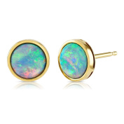 Opal Earrings, 9ct Gold, 7mm Round