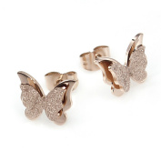 VALYRIA Butterfly Rose Gold Stainless Steel Studs Earrings - Hypoallergenic
