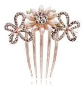 Bridal Wedding Hair Accessories White Cream Pearls Butterfly Flower Comb HA113