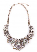 Happiness Boutique Women Vintage Statement Necklace in Gold   XXL Necklace in Pastel Colours nickel free