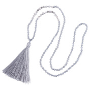 KELITCH Bohemian Natural Freshwater Pearl Crystal Beaded Tassel Necklace Long Y Chain