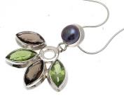 Gemstone Jewellery Peridot Stone Peridot Jewellery Black Pearl Pendant 925 Silver