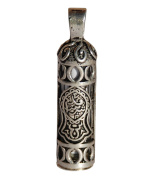 Beautiful Glass Prophet Sandal Jawshan Cevsen Vial Enclosed in Sterling Silver Talisman Pendant for Necklace