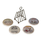 Heaven Sends Set of 4 Round Bicycle Coasters in Wire Rack
