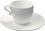 Deagourmet 166, Plots Set of 4 Cups and 4 Saucers in Porcelain White