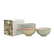 Denby Always Entertaining Deli Rice Bowl, Stone, Blue/Pink/Yellow/Green, Set of 4