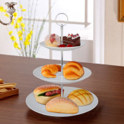 Safekom 3 Layer Tier Creamic Round Serving Display Cup Cakes Stand And Food Platter Rack