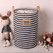 Addfun®Premium Fabric Foldable Round Laundry Basket, Striped Clothes Laundry Basket Children Toys Storage Holder with Lids 35*45cm Blue stripes