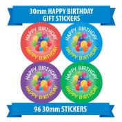 "96 30mm ""HAPPY BIRTHDAY"" gift stickers ballons party children"