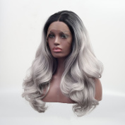 Arimika Ombre Silver Grey Bodywave Heat Safe Synthetic Soft Bouncy Layered Lace Front Wig For Women