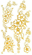 GRASHINE Golden tattoo size 12cm x 6.5cm Middel Eastern and India Design Style Flowers Golden Gold fake and realistic temporary tattoos for women