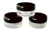 5ml Empty Plastic Cosmetic Jars x 10 CLEAR with BLACK Lids for Creams/Sample/Make-Up/Glitter Storage