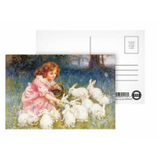 Feeding the Rabbits by Frederick Morgan - Postcard (Pack of 8) - 15cm x 10cm - Art247 Highest Quality - Standard Size - Pack Of 8