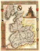 Lancashire Reproduction Antique Map, Retro Reproduction Lancashire Map, Thomas Moule Maps