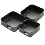 Jazooli 3pc Non-Stick Baking Springform Square Cake Tin Tray Pan Set Kit Spring Loaded