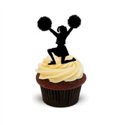 NOVELTY CHEERLEADER SILHOUETTE - Standups 12 Edible Standup Premium Wafer Cake Toppers