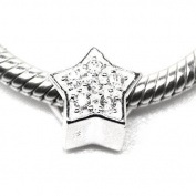 Star with Cubic Zirconia - CZ - Christmas - 925 Sterling Silver Charm Bead - European Style