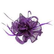 Purple Beads Feather and Mesh Corsage Hair Fascinator Brooch Accessory