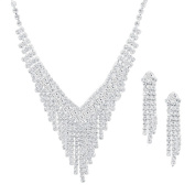 Cascading Necklace Set with Earrings Costume Silver and Clear Diamante Bridal Set