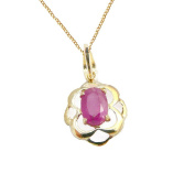 9ct Yellow Gold Real Ruby Celtic Oval Pendant with 9ct Chain - July Birthstone - 40th Wedding Anniversary